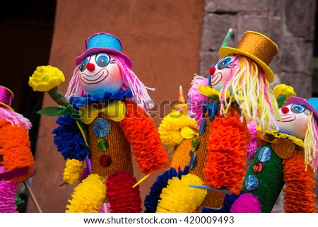 colourful puppets for sale in mexico at street vendors - stock photo