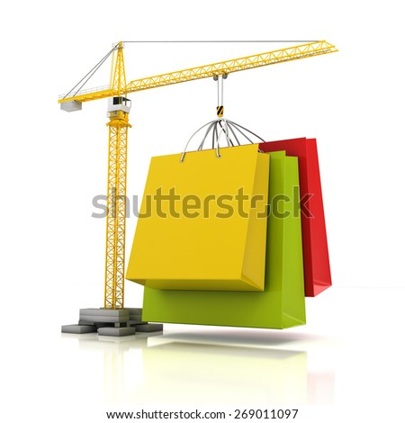 Colourful shopping bags with crane, 3d render, white background - stock photo