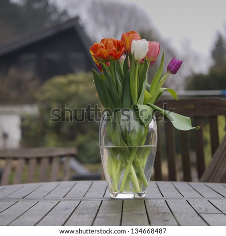 colourful tulips in a vase outside on a table -square - stock photo