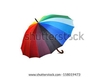 Colourful umbrella isolated on the white background - stock photo