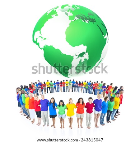 Colourful world people environmental conservation concept - stock photo