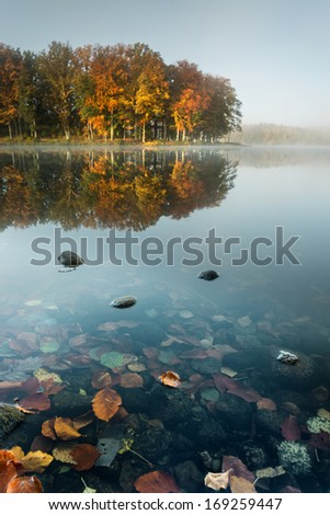 Colourfull Autumn Forest reflecting in Calm Lake at Sunrise/North Poland-Pomerania district   - stock photo