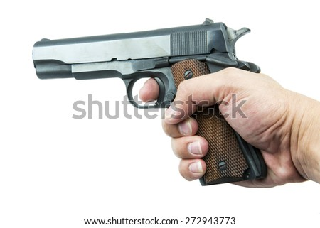 Colt Mark IV series80 government m1911 in hand isolated a white background. - stock photo