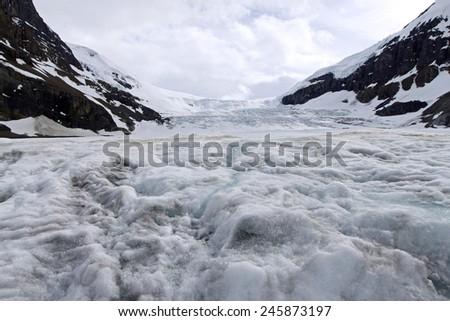 Columbia Icefield and Athabasca Glacier at Jasper National Park. Alberta. Canada - stock photo