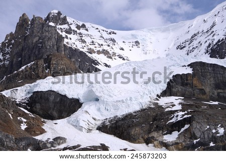 Columbia Icefield and Athabasca Glacier at Jasper National Park. Alberta. Canada - stock photo