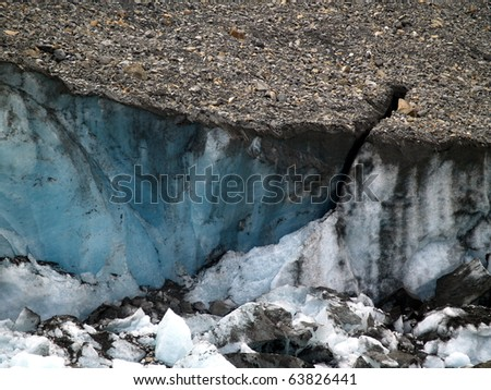 Columbia Icefield's Athabasca Glacier foot showing an overburden of rock ffour which slows surface melt. This  consists of fine-grained particles generated by mechanical grinding of bedrock by ice - stock photo