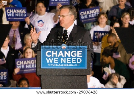 COLUMBIA, MO - OCTOBER 30, 2008: Then-Attorney General Jay Nixon (D-MO) speaks at an Obama campaign rally on the campus of the University of Missouri-Columbia on October 30, 2008. - stock photo