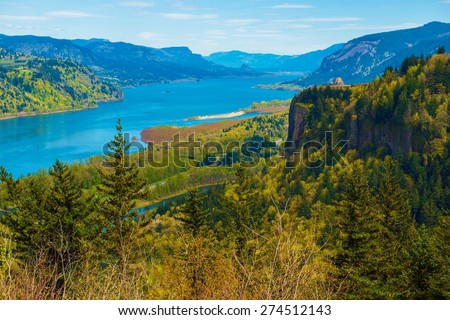 Columbia River Gorge and the Famous Crown Point Vista House near Portland, Oregon, United States. Columbia River Scenery.  - stock photo