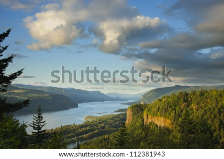 Columbia River Gorge in northwestern Oregon showing the Vista House - stock photo