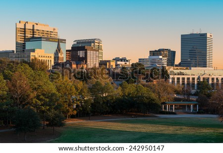 COLUMBIA, SOUTH CAROLINA - DECEMBER 10: Downtown Columbia from Finlay Park on December 10, 2014 in Columbia, South Carolina  - stock photo