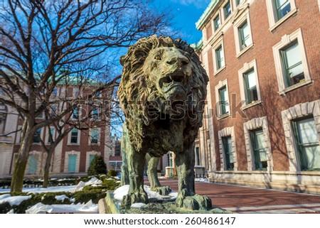 Columbia University of New York in winter - stock photo
