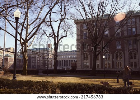 Columbia University Sunny spring day - stock photo