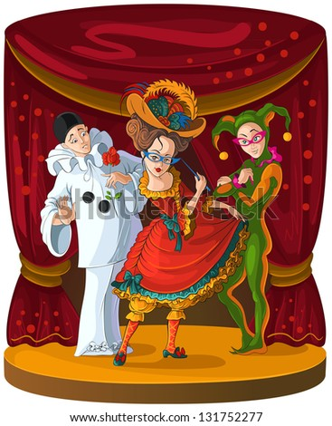Columbine, Harlequin and Pierrot - theater comedian characters. The personages of Italian comedy del arte in bright clothes on the curtain scene background. Raster version - stock photo