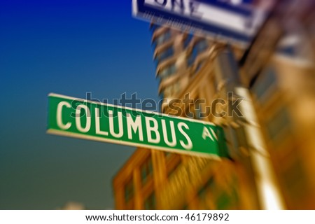 Columbus Avenue of New York - LENS BLURRED - stock photo