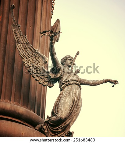 Columbus column on the Barcelona habour with high details - stock photo