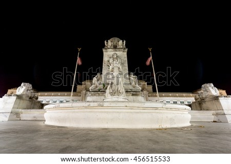 Columbus Fountain semicircular double-basin fountain in front of Union Station in Washington DC at night. - stock photo