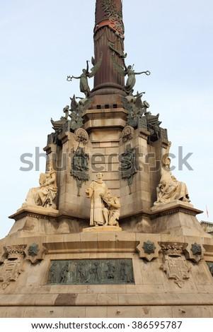 Columbus Monument, Monument A Colom, Columbus Statue, Barcelona, Spain.  - stock photo