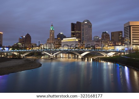 Columbus, Ohio along the Scioto river is the capital of the state. - stock photo