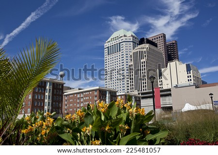 Columbus Ohio from the urban park, Columbus commons, in the heart of downtown - stock photo