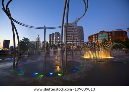 COLUMBUS, OHIO - JUNE 6, 2014:   Bicentennial Park in downtown Columbus offers a refreshing break from the summer heat. - stock photo