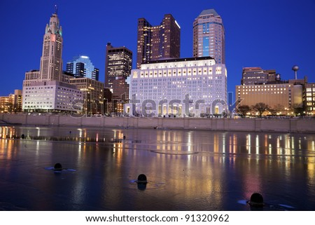 Columbus, Ohio seen during the winter evening - stock photo