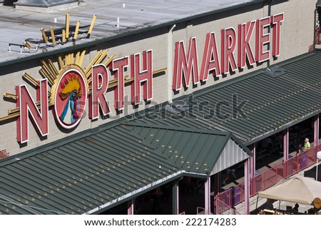 COLUMBUS, OHIO-September 27, 2014:  The historic North Market has a booming farmers market in columbus, Ohio on Saturdays. - stock photo