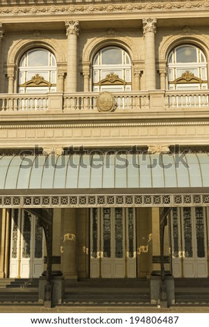 Columbus Theatre facade on 9 de julio Avenue at Buenos Aires, Argentina. This Opera House is considered one of the top 5 world's concert halls. - stock photo