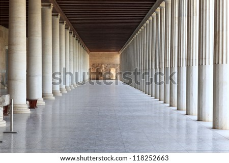 Column arcade of museum, Ancient Agora, Athens, Greece - stock photo