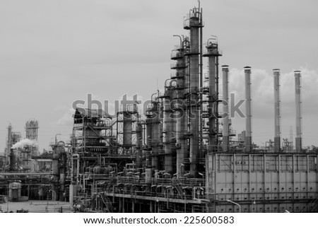 Column of petrochemical plant - stock photo