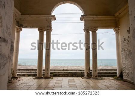 column sea view - stock photo
