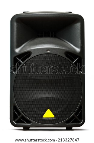 Column speaker on white closeup - stock photo