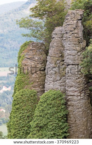 Columnar basalt at Hungary,Badacsony - stock photo