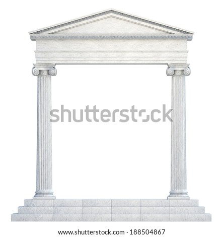 Columns and Arch isolated. Clipping path - stock photo