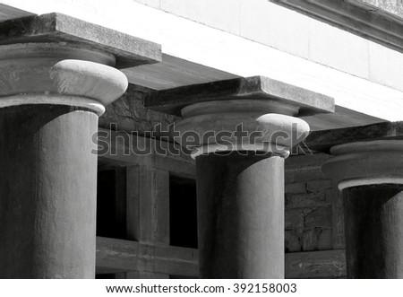 Columns at Knossos - Black and White Photo - stock photo
