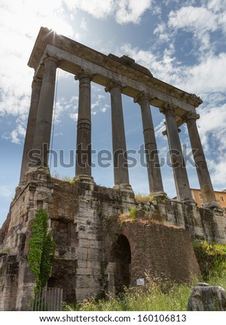 Columns at the Forum ruins in Rome, Italy on a sunny day. - stock photo
