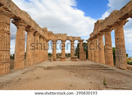 Columns from Temple in the archaeological site of Selinunte in Sicily - stock photo