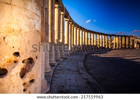 Columns  in Ancient Ruins in the ancient city of Jerash  - Jordan 20.01.2014 - stock photo
