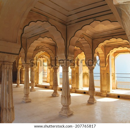 columns in palace - Jaipur fort India - stock photo