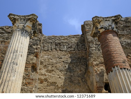Columns in Pompeii - stock photo
