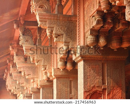 columns in red Fort of Agra India - stock photo