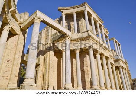 Columns in the roman amphitheater of Merida. Emerita Augusta. Badajoz, Extremadura, Spain - stock photo