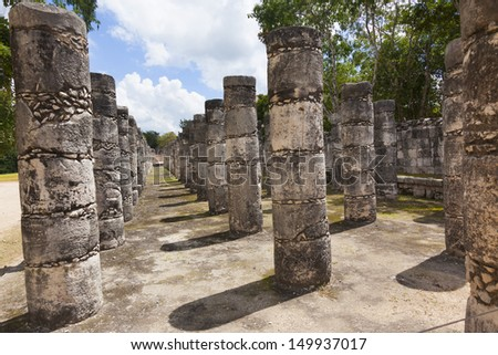 Columns in the Temple of a Thousand Warriors, Mexico - stock photo
