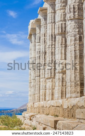 Columns of ancient greek temple - stock photo
