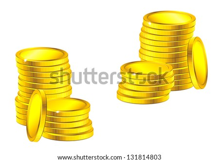 Columns of golden coins for business, saving or wealth concept design. Vector version also available in gallery - stock photo