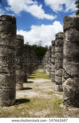 Columns of Mayan temple in Mexico - stock photo