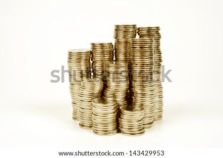 columns of money, golden coins - investment profit - stock photo
