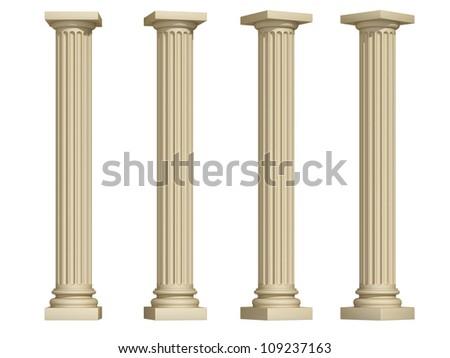 columns on a white background - stock photo