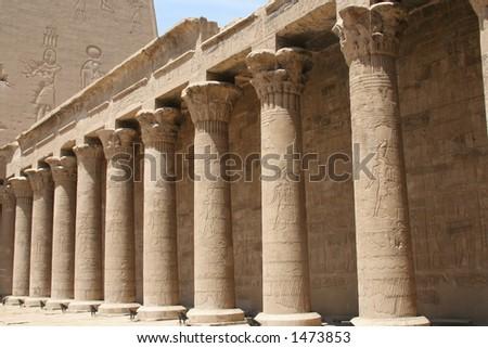 Columns on Philae Island - stock photo