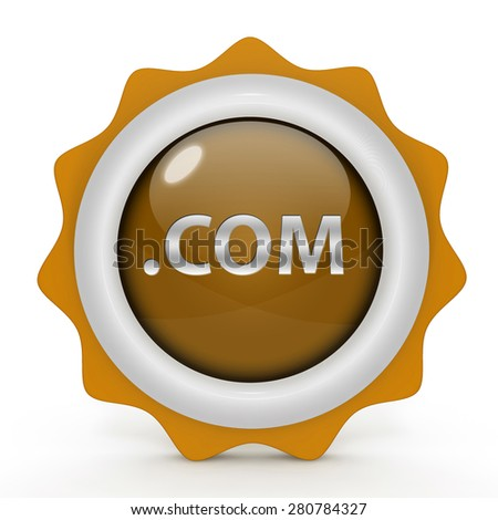 Com circular icon on white background - stock photo