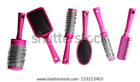 Comb brushes, isolated on white - stock photo